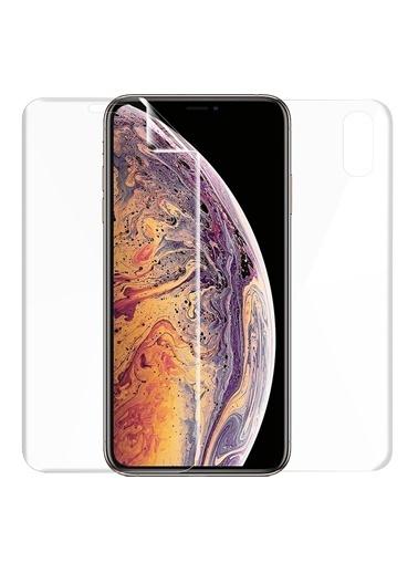 Microsonic iPhone XR (6.1'') Ön + Arka Kavisler Dahil Tam Ekran Kaplayıcı Film Renksiz